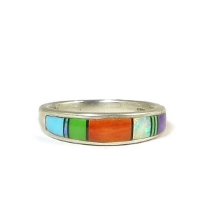 Multi Gemstone Inlay Ring Size 8 3/4