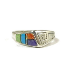 Sterling Silver Multi Gemstone Inlay Ring Size 6 (RG2062)