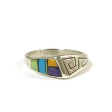 Sterling Silver Multi Gemstone Inlay Ring Size 6 (RG2063)