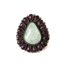 Natural Dry Creek Turquoise & Purple Spiny Oyster Shell Cluster Ring Size 8 1/2 by LaRose Ganadonegro, Navajo