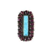 Natural Kingman Turquoise & Purple Spiny Oyster Shell Cluster Ring Size 9 1/2 by LaRose Ganadonegro, Navajo