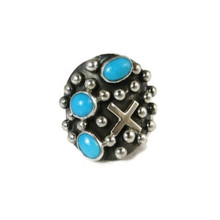Sterling Silver Sleeping Beauty Turquoise Cross Ring Size 7 by Ronnie Willie, Navajo