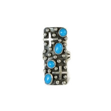 Sterling Silver Sleeping Beauty Turquoise Cross Ring Size 7 1/2 - 8 by Ronnie Willie, Navajo