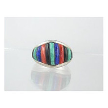 Turquoise & Gemstone Sculpted Inlay Ring Size 9 by Southwest Artist Pete Sierra