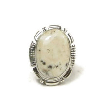 Sterling Silver White Buffalo Ring Size 7 by Burt Francisco, Navajo