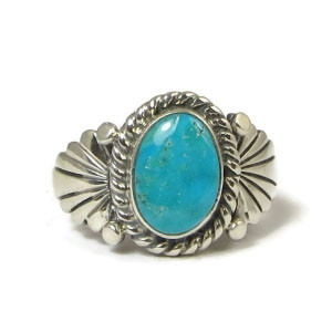 Candalaria Turquoise Ring Size 10 1/4 by Wilson Padilla, Navajo