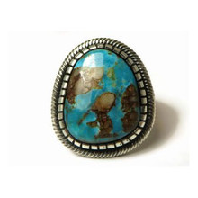 Sterling Silver Kingman Turquoise Ring Size 9 by Leon Martinez, Navajo