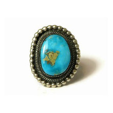 Sterling Silver Kingman Turquoise Ring Size 7 by Leon Martinez, Navajo