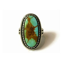 Sterling Silver Royston Turquoise Ring Size 9 by Leon Martinez, Navajo