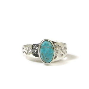 Hand Stamped Adjustable Royston Turquoise Ring Size 8 by Lena Platero, Navajo
