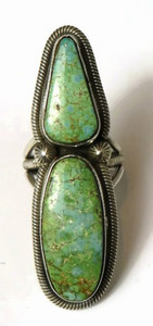 Sterling Silver King Manassa Turquoise Ring Size 7 by Rick Martinez, Navajo - Large Turquoise Ring