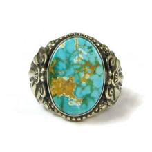 Handmade Natural Web Royston Turquoise Ring Size 10 1/2 by Friston Toledo, Navajo