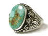 Handmade Natural Two-Tone Royston Turquoise Ring Size 10 by Fritson Toledo, Navajo