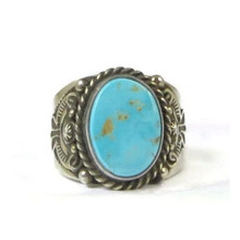 Handmade Natural Blue Royston Turquoise Ring Size 11 by Fritson Toledo, Navajo (RG2484)