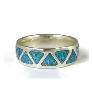 Turquoise Chip Inlay Band Ring Size 6