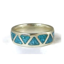 Turquoise Chip Inlay Band Ring Size 7