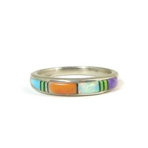 Multi Gemstone Inlay Ring Size 7 (RG2643)