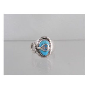 Effie Calavaza Sterling Silver Turquoise Ring Size 9 1/2