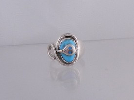 Effie Calavaza Sterling Silver Turquoise Ring Size 10 1/2