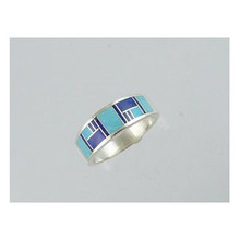 Lapis & Turquoise Inlay Band Ring Size 12