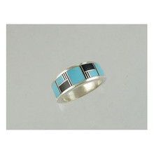 Jet & Turquoise Inlay Band Ring Size 8