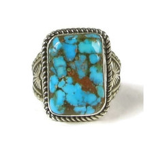 Brown Web Kingman Turquoise Ring Size 11 by Albert Jake