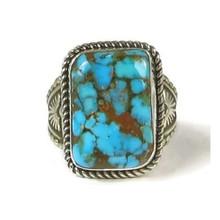 Brown Web Kingman Turquoise Ring Size 11 by Albert Jake