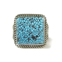 Spider Web Kingman Turquoise Ring Size 9 1/2 by Albert Jake
