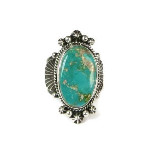 Pilot Mountain Turquoise Ring Size 10 by Guy Hoskie