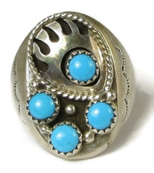 Sleeping Beauty Turquoise Bear Paw Ring Size 11