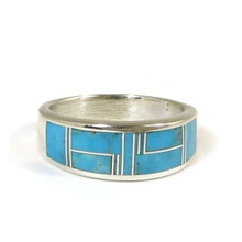 Turquoise Inlay Ring Size 11 by Albert Tabaha, Navajo