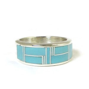 Turquoise Inlay Band Ring Size 10