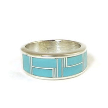 Turquoise Inlay Band Ring Size 12 1/2