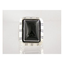 Sterling Silver Onyx Ring Size 10 1/4