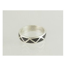 Silver Black Jet Inlay Band Ring Size 9