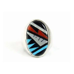 Zuni Geometric Inlay Ring Size 12 by Gladys Lamey