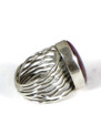 Purple Spiny Oyster Silver Branch Wire Shell Ring Size 7 1/2