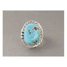 Sterling Silver Castle Dome Turquoise Ring Size 12