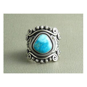 Sterling Silver King Manassa Turquoise Ring Size 11 - Gary Reeves