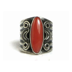 Handmade Sterling Silver Coral Ring Size 7 1/2 by Derrick Gordon, Navajo