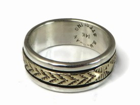 14k Gold Sterling Silver Band Ring Size 6 1/2 by Bruce Morgan, Navajo