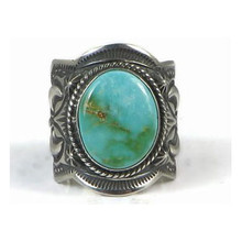 Handmade Sterling Silver Natural Pilot Mountain Turquoise Ring Size 10 1/2 by Happy Piaso, Navajo