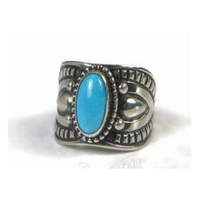 Sterling Silver Sleeping Beauty Turquoise Ring Size 8 by Derrick Gordon, Navajo