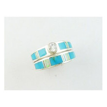 Sleeping Beauty Turquoise & Opal Inlay Wedding Band Ring Size 7 (RG4080)