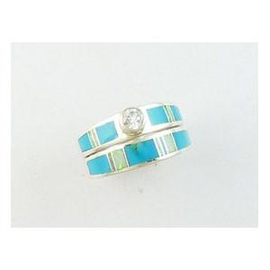 Sleeping Beauty Turquoise & Opal Inlay Wedding Band Ring Size 8 (RG4080-S2)