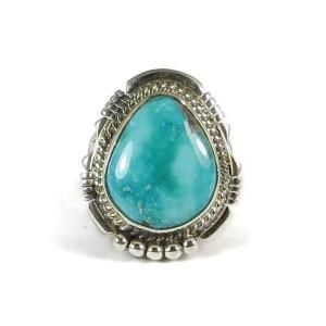Battle Mountain Turquoise Ring Size 8 1/4 by San Felipe, Phillip Sanchez