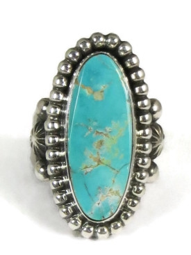 Natural Royston Turquoise Ring Size 9 by Guy Hoskie