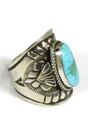Kingman Turquoise Wide Cigar Band Ring Size 9 by Derrick Gordon