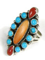 Sleeping Beauty Turquoise, Spiny Oyster Shell & Mediterranean Coral Cluster Ring Size 7 1/2 by Geneva LaGonadonegro