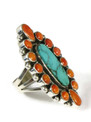 Pilot Mountain Turquoise & Spiny Oyster Shell Cluster Ring Size 7 by Geneva LaGonadonegro